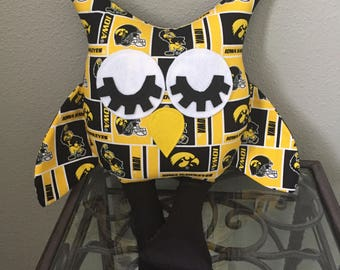 Iowa Hawkeyes Handmade Stuffed Owl