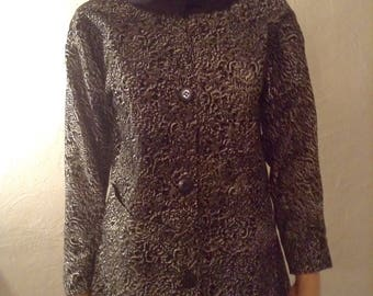 Lightweight jacket cotton polyviscose small floquage gis black and white