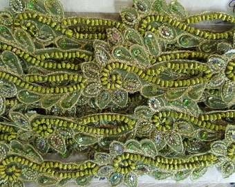 Vintage Pretty Quality hand beaded trim 5 cm wide x 1 metre more available. green cushions hats throws