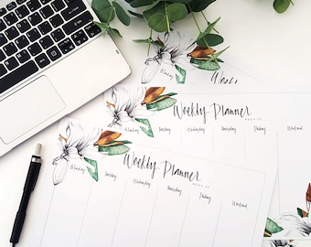 MAGNOLIA WEEKLY PLANNER/Hand Painted/Hand Drawn/Hand Written