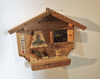 Vintage Miniature Wooden Interior of House Wall Art with Hearth, Mantle, Window and Thermometer