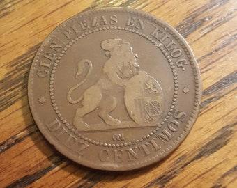 1870 Spain 10 Centimo  *mar18