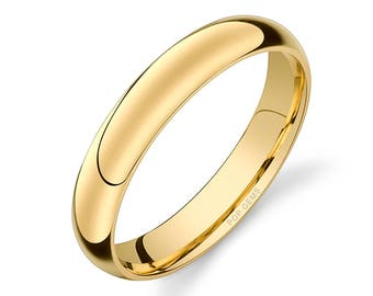 14k Yellow Gold Band (4mm) / PLAIN / Polished Rounded Dome + Comfort Fit / Men's Women's Wedding Ring Simple