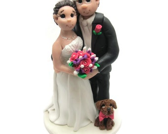 Custom cake topper, Dog Lovers wedding cake topper, Bride and Groom with dog cake topper, Mr and Mrs cake topper, personalized cake topper