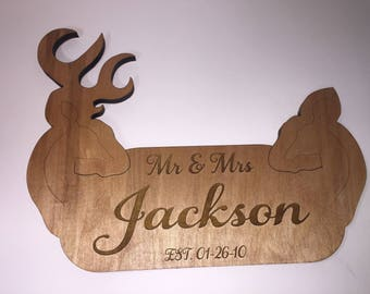 Personalized Mr and Mrs Deer Sign