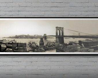 Brooklyn bridge blueprint vintage new york brooklyn bridge brooklyn bridge photo print vintage brooklyn bridge art print new york city art photo 1913 panoramic brooklyn bridge photo malvernweather Images