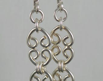 Classy Curves Dangle Earrings, sterling silver