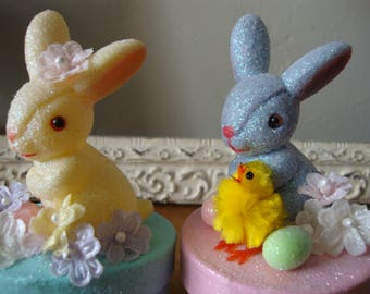 Vintage style Easter candy containers gift boxes glittered vintage bunnies and millinery Spring party favor paper mache gift wrap packaging
