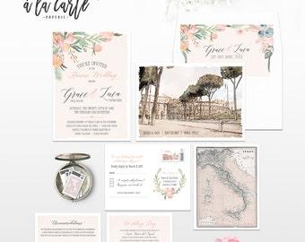 Rome Italy Destination Wedding Invitation Rome Roma Italian illustrated wedding invitation in Blush Peach Pink Colosseum - Deposit Payment