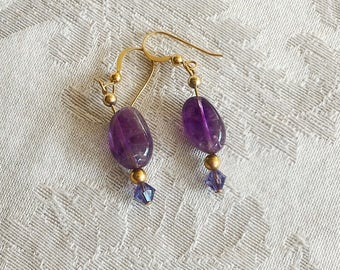 10mm Amethyst Nugget and Gold Fill Earrings with Swarovski Crystal