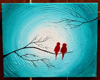 Love Birds on a Tree Limb in the Winter: Red, Turquoise, Black, White, highly textured Acrylic Abstract Painting on Canvas