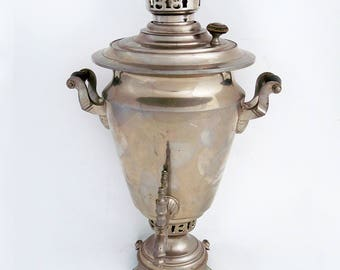 Vintage Russian Samovar, Traditional Wood or Coal Heated Samovar, Non Electric, Water Heater, Teapot