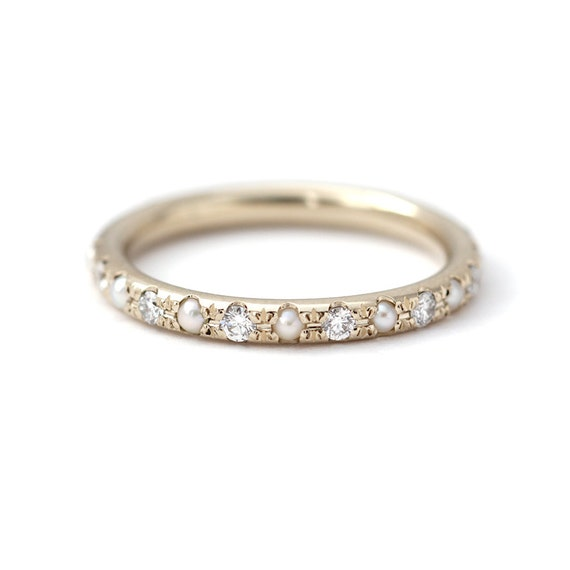 Pearl Wedding Ring Pearl Eternity Ring Diamond Pearl