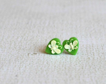 Vintage Green and White Butterfly Heart Titanium Earring Posts- Green and White Earrings- Titanium Studs- Vintage Earrings- Hypoallergenic