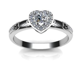 Ladies stone set claddagh ring, contemporary Irish celtic claddagh ring.