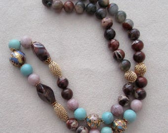 semiprecious stones necklace with vintage cloisonne beads