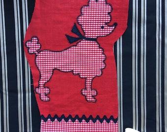 Vintage Poodle Fabric Piece for Skirt, Jacket, Purse 50's 60's Patch Appliqué
