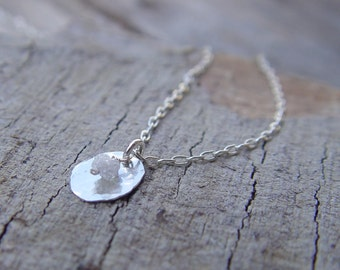 Raw Diamond Necklace, Sterling Silver Necklace,  Sterling Silver Necklace, Dainty Silver Necklace, Rough Diamond Necklace