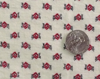 Cotton Fabric / Cotton Calico Fabric / Red Rose Fabric / Red Calico Fabric / Red Floral Fabric / Vintage Cotton Fabric / Red Calico Fabric /