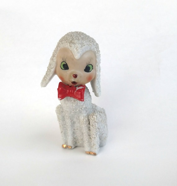 Vintage Porcelain Figurine of Lamb in Red Bow Tie made in Japan by Arnart