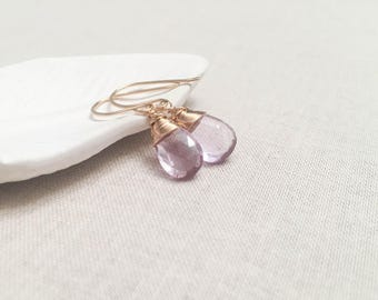 Lavender Amethyst Gold Wrapped Drops - 14k Yellow Gold Fill Wire Wrap Faceted Genuine Pink Amethyst Briolettes Modern Spring Color Pop