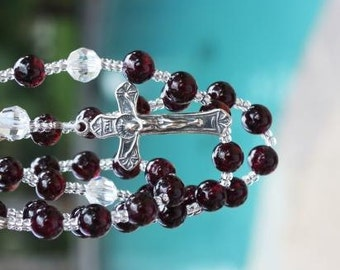 Catholic Rosary in Garnet and Crystal with Sterling Silver Findings