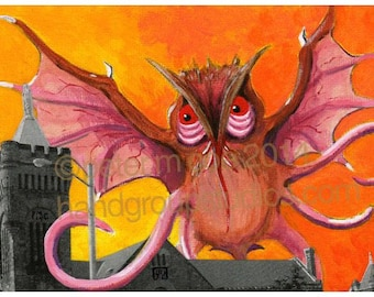 "Detroit Kaiju Owl Bat Tentacle Monster 5x7 Print ""Měngqín in Holy Rosary's Belfry"" Original Art Print by Pete Coe"