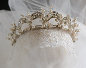 Antique Inspired Silver Tiara Lily Of The Valley Style, Vintage Bridal Tiara, Wedding Headband, Rhinestone /Freshwater Pearls & Crystals