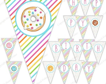 Rainbow Donuts Birthday Bunting - printable Happy Birthday party banner, Digital Instant Download PB027