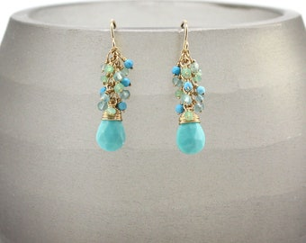 Turquoise Earrings, Gold Earrings, Gemstone Earrings, Cluster Earrings, Chrysoprase Earrings, Dangle Earrings, Sleeping Beauty Turquoise