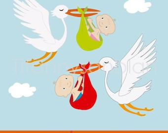 Reminder of christening for boy and girl, stork flying with baby, clipart christening, illustration christening. Children's illustrations
