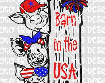 barn in the usa pigs svg