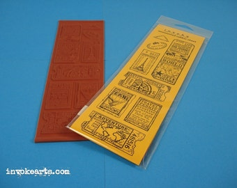 Travel Tickets / Invoke Arts Collage Rubber Stamps / Unmounted Stamp Set