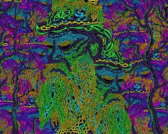 Trippy Psychedelic Backdrop Tapestry Blacklight Art Fluorescent UV decorations Psychonaut Acid Canvas Hippie Wallart Glow In The Dark Poster
