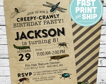 Printed Vintage Bugs Entomology Birthday Invitation and Envelopes