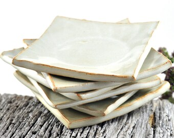 Ceramic Condiment Dishes Cream White Handmade Ring Dish Candle Holder Trinket Set of Six Wedding Decor