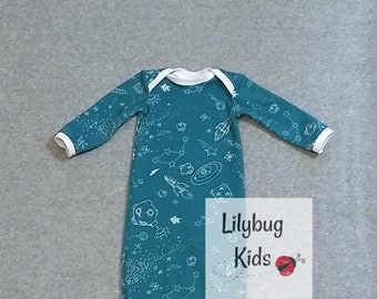 Space gown size 3 months, teal infant gown, moon, stars, rocket, baby shower gift, gender neutral, long sleeves, baby gown, ready to ship