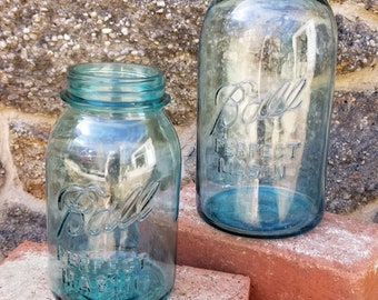 LUCKY Number # 13 -Vintage Quart blue glass Mason Jar! Great Vintage condition!