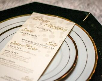 "New Years Wedding Menus, Dotted Wedding Dinner Menus, Gold Invitations, Metallic Invites - ""Delicate Dotted"" Flat Menu, No Layers - DEPOSIT"