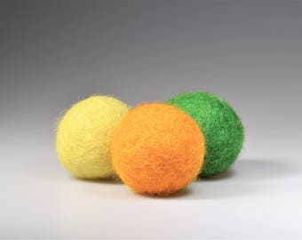 Felted  cat toy with catnip or Valerian root Set of tree  handmade felted balls for cats