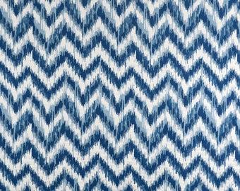M9635 Aegean Flame Stitch Chevron Matelassse Blue Upholstery Fabric