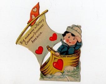 Vintage Columbus History Valentine | Rare, Child, Children, Nautical, Boat, Made in Germany | Valentine's Day, Valentines| Paper Ephemera