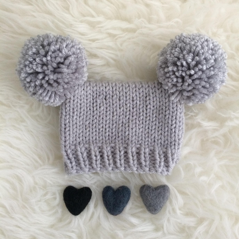 70e21770e Baby pom pom hat boy grey silver photo prop 1 to 4 months grey