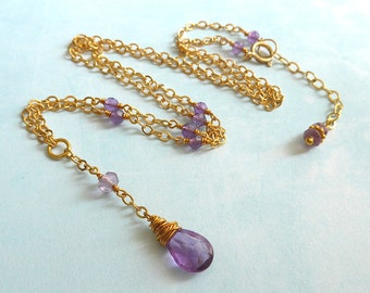 Amethyst Necklace, Gold Amethyst Necklace, Amethyst Chain Necklace, Purple Amethyst Necklace, Gold Necklace, Amethyst Gold Filled Necklace