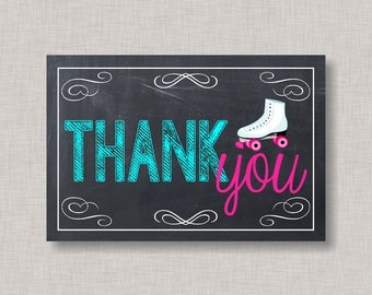 Roller Skating Thank You Card, Chalkboard, Printable Thank You Card, Instant Download