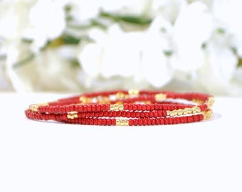 Wrap Bracelet Red 3 Wrap Bracelet Red Gold Multi-Wrap Bracelet Seed Bead Bracelet 21-24 inch Bracelet Necklace