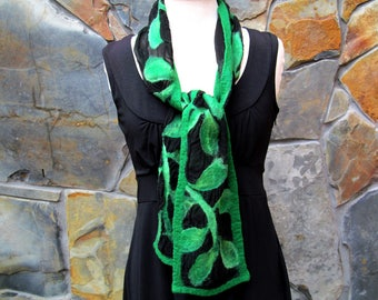 Green leafy vines on black silk, short nuno felt scarf