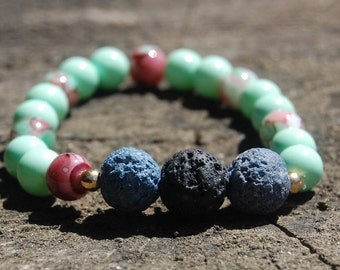 Magenta and teal Essential Oils Bracelet/ Beaded Bracelet/ Lava Beaded Bracelet/ Stress Relieving Bracelet