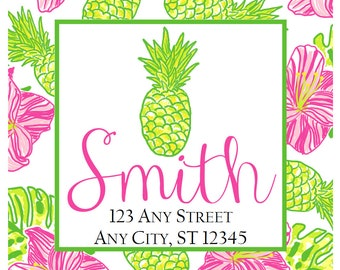 Preppy Pineapple Hibiscus Tropical Labels Stickers for Party Favors, Gift Tags, Address Labels