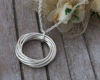 80th Gift for Grandmother, Sterling Silver Interlocking Rings Necklace, 8 rings for 8 Decades